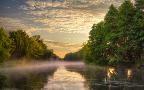 puesta del sol, río, árboles, paisaje