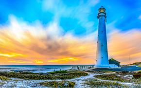 закат, море, берег, маяк, пейзаж