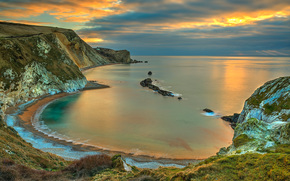 durdle door, Dorset, England, sunset, landscape