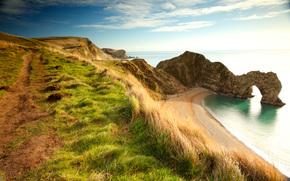 durdle door, Dorset, England, Rocks, sea, shore, arch, sunset, landscape
