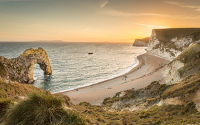 DURDLE porte, Dorset, Angleterre, Rocks, mer, côte, arc, coucher du soleil, paysage