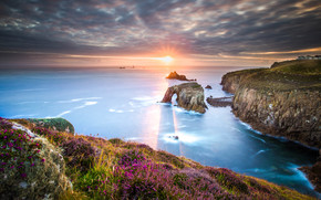Cornwall, South West England, sunset, sea, Rocks, landscape