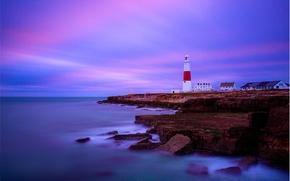 Portland Bill, Inglaterra, Cabo Portland - Bill, Inglaterra, Inglés Channel, costa, faro, puesta del sol