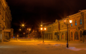 Киров, Россия, зима, старый город, ночь, улица, снег, фонари