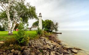 lighthouse, park, Lake Huron, Michigan, Huron County