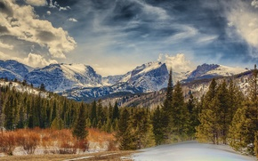 Rocky Mountain National Park, Colorado, Mountains, trees, landscape