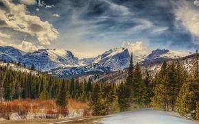 Parque Nacional de las Montañas Rocosas, Colorado, Montañas, árboles, paisaje