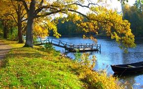 осень, река, причал, лодка, деревья, дорога, пейзаж