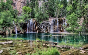 cascate, Rocce, alberi, paesaggio, Colorado