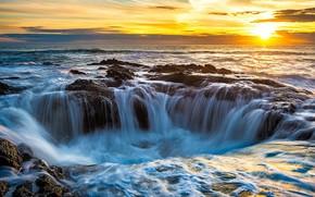 Bene di Thor, Lincoln, Oregon, Stati Uniti, le porte della prigione, bene, tramonto, paesaggio, Cape Perpetua, Nord America