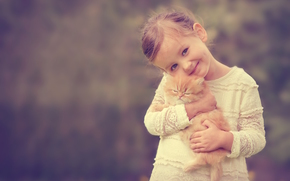 girl, ginger kitten, kitten, Friends, smile, mood