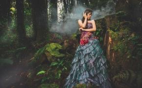маска, лес, платье, азиатка