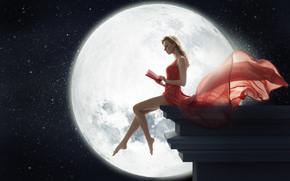 moon, girl, book, red, dress, night