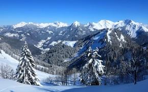 Haute Savoie, Montagnes de FRANCE, зима, горы, пейзаж