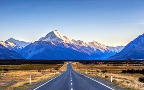 дорога, горы, поле, пейзаж