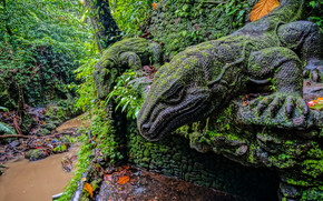 Ubud Monkey Forest, Ubud, Bali, Indonesia, Statue of a Komodo dragon, Ubud, Bali, Indonesia, Monkey Forest, reserve, Statues, forest, river