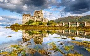 Eilean Donan Castle, Dornie, Scotland, Замок Эйлиан Донан, Дорн, Шотландия, мост, озеро, отражение