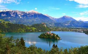 Lake Bled, Slovenia, Pokljuka, Бледское озеро, Словения, Мариинская церковь, Поклюка, горы, остров, озеро, церковь, панорама