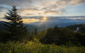 Waterrock Knob, Plott Balsam Mountain, Blue Ridge Parkway, North Carolina, Северная Каролина, горы, закат