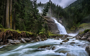 Cascate di Krimml, Krimmler Ache, Salisburgo, Austria, Cascate di Krimml, Krimler fiume Ache, Salisburgo, Austria, cascata, fiume, foresta