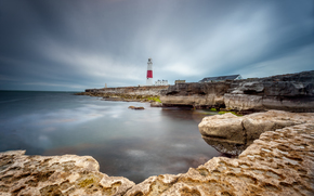 Portland Bill, england, Cape Portland - Bill, England, English Channel, coast, lighthouse, sunset