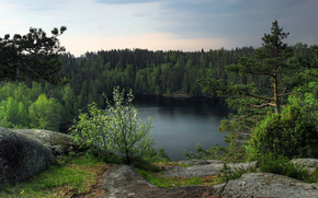 закат, озеро, скалы, лес, деревья, пейзаж