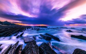 sunset, sea, Rocks, stones, landscape