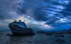 Lake Tahoe, Sierra Nevada, EE.UU., lago, puesta del sol, paisaje