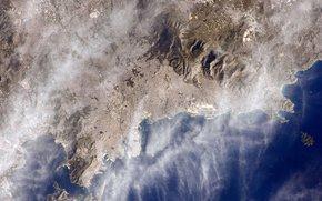 Atene, Grecia, città, mare, spazio, pianeta, terra, Montagne, nuvole
