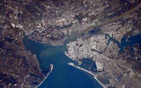 Город, Нью-Йорк, Америка, планета, Земля, космос, залив, река