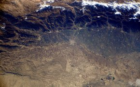 Iran, Mountains, desert, clouds, planet, land