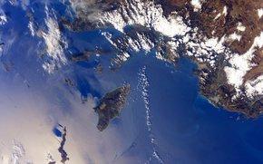 Остров, Родос, города, Ксанф и Летоон, море, облака, планета, Земля, космос