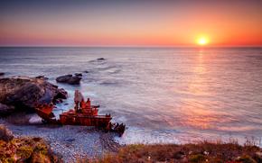 закат, море, скалы, раздолбанный корабль, пейзаж