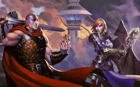 Dungeons_and_dragons_neverwinter, clava, Espada, rato, Torre, Castelo, montanha
