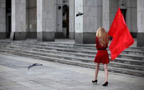 Москва, Россия, блондинка, флаг, голуби