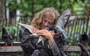 New York City, New York, homeless, Pigeons, birds, love, mood