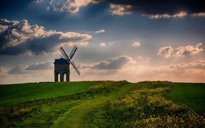 Chesterton Mill, Warwickshire, закат, поле, мельница, пейзаж
