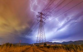 field, road, tower, wire, lightning, lightning in cables, landscape