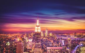 Empire State Building, Manhattan, Nova York, O Empire State Building, Manhattan, Nova Iorque, vida noturna da cidade, Arranha-céus, construção, panorama