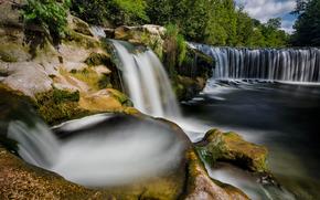 Affenschlucht, Töss, Winterthur, Zurich, Suisse, Rivière rabotés, Winterthur, Zurich, Suisse, cascade, rivière, noyaux