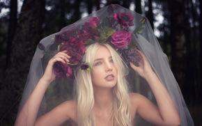 Lauren Hallworth, невеста, венок, цветы, фата, настроение