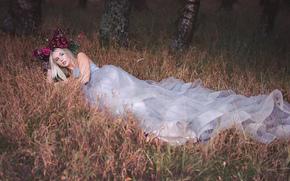 Lauren Hallworth, невеста, платье, венок