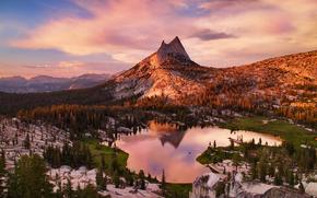 Yosemite National Park, закат, озеро, деревья, вид с верху, пейзаж