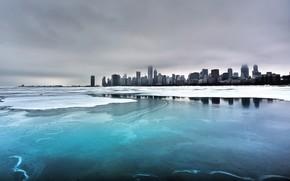 ville, mer, hiver