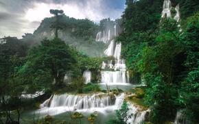 Thi Lo Su Waterfall, Thailand, водопад Ти Ло Су, Тайланд, водопад, каскад, деревья
