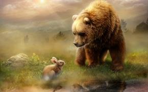 медведь, кролик, встреча, рисунок