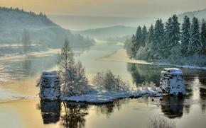 Blakstad, Froland, Aust-Agder, Norway, Nidelv River, зима, река, деревья, пейзаж