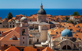 Luza Square, Dubrovnik Cathedral, Assumption Cathedral, Church of Saint Blaise, Dubrovnik, croatia, Adriatic sea, Square Lodge, Cathedral of the Assumption of the Virgin Mary, Church of St. Blaise, Germander, Croatia, Adriatic Sea, cathedral, church, buil