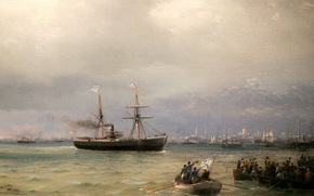 """The arrival of the ship"" Missouri ""with bread in Russia"", ship, 1892, help, Aivazovsky"