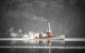 Steam Boat, boat, old man, dog, river